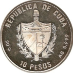 10 Pesos (5th Centennial Dyiscovery of America - Arrival to Cuba)