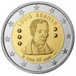 2 Euro (200th Birth anniv. of educator Louis Braille)
