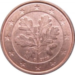 1 Euro Cent (5 leaves oak tree - A, D, F, G, J)