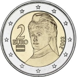 2 Euro (Peace prize winner Bertha von Suttner - member map)