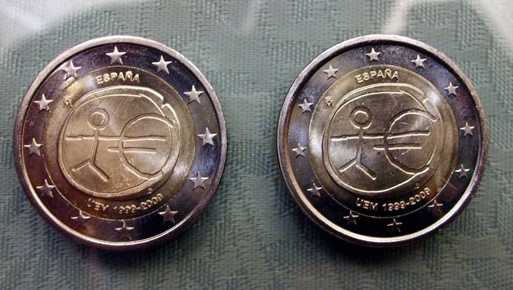 Error 2 Euro Commemorative Coin 10 Anniversary Of The Economic Monetary Unionr moneda 2 euros española 2009 EMU Estrellas grandes