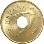 25 Pesetas (1992 Summer Olympics - Discus Thrower)